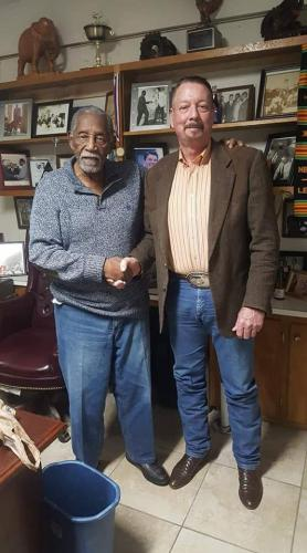 Les with Charle Evers, mayor of Fayettville, Mississippi, civil rights activist and younger brother of the late Medgar Evers